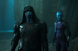 Marvel's Guardians Of The Galaxy L to R: Ronan (Lee Pace) and Nebula (Karen Gillan) Ph: Jay Maidment ©Marvel 2014