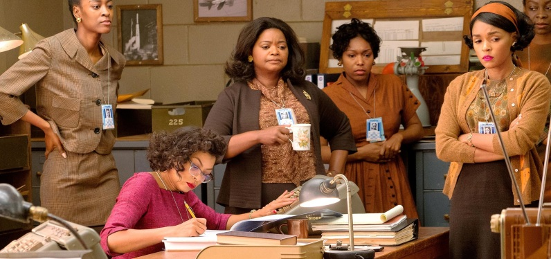 Hidden Figures (2016) L-R: TK, Taraji P. Henson as Katherine Johnson, Octavia Spencer as Dorothy Vaughan, TK, and Janelle Monae as Mary Jackson